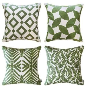 4 Piece Embroidered Throw Pillow Cover Set